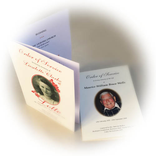 Funeral Book / funeral order or service printing in Luton from our Lutonprint shop
